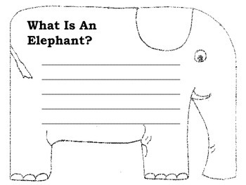 Non-Fiction Elephant Writing Shape Book & Making Words Activity