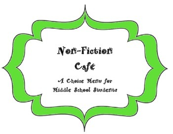 Non-Fiction Enrichment/Choice (Cafe) Menu