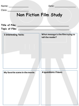 Non Fiction Film Study Worksheet