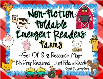 Non-Fiction Foldable Readers: Farms/Farm Animals!  ~Set of 8 PLUS Research Map~