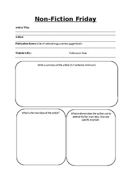 Non Fiction Friday Worksheet