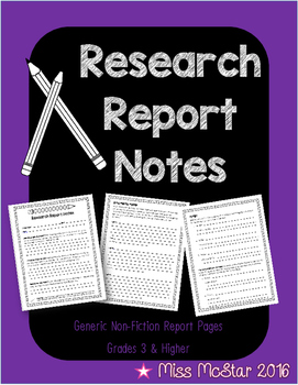 Non-Fiction Generic Research Report Notes