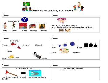 Non-Fiction How To Teach My Reader Achor Chart and Checklist