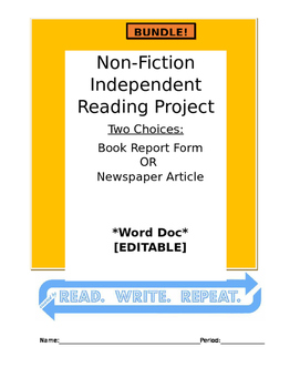 Non-Fiction Independent Reading Project BUNDLE Word Doc: [ARTICLE] & [FORM]
