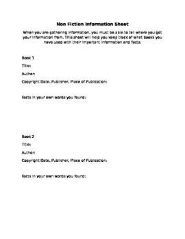 Non Fiction Information Sheet