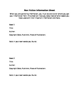 Non Fiction Information Sheet