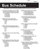 Non-Fiction Informational Documents - Bus Schedule - Test Prep