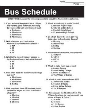 Non-Fiction Informational Documents - Bus Schedule - Test Prep