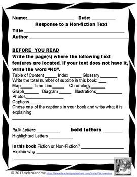 Non-Fiction / Informational Text Response Scavenger Hunt