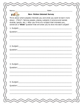 Non Fiction Interest Survey