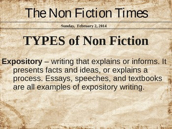 Non Fiction Introduction Powerpoint (Customizable)