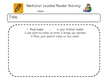 Non-Fiction Leveled Reader Activity