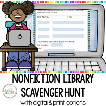 Non-Fiction Library Scavenger Hunt Cards with QR Codes