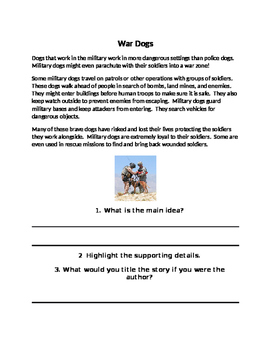 Non Fiction Main Idea Texts-Working Dogs