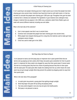 Main Idea Test Prep Task Cards: Non-Fiction Mini-Passages with Questions