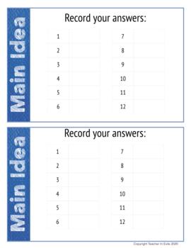 Main Idea Test Prep Task Cards Non-Fiction Mini-Passages with Questions
