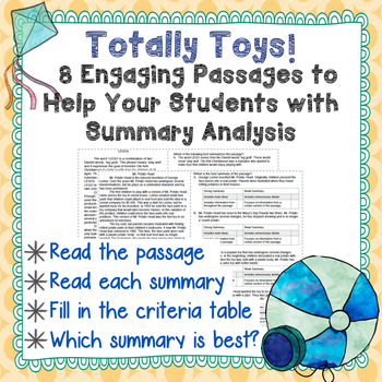 Non-Fiction Mini-Passages with Summary Analysis- Weed Out