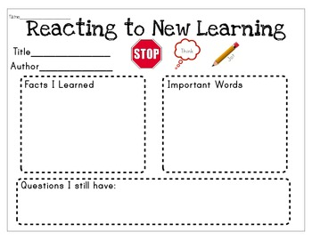 Non Fiction New Learnings Graphic Organizer