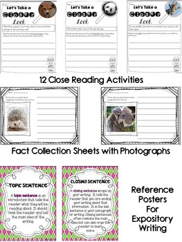Nonfiction Reading - Close Reading and Writing K-2 Baby Animal Edition