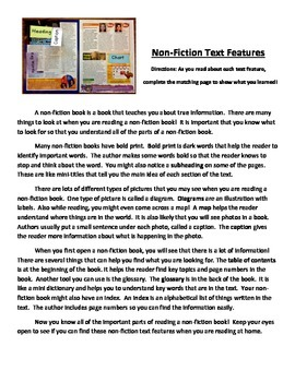 Non-Fiction Non Fiction Text Features Matching Worksheet Activity Assessment