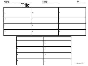 Non-Fiction Note Taking Graphic Organizer