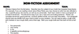 Non-Fiction Novel Assignment