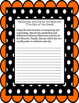 Non-Fiction Paired Passage Dia de los Muertos and Halloween Non-Prep Printable!