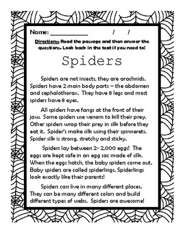 Close Reading NF Passage with Comprehension Questions and Quiz - SPIDERS!