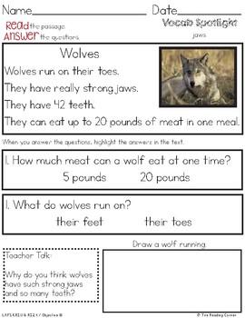 Non Fiction Passages: Animals