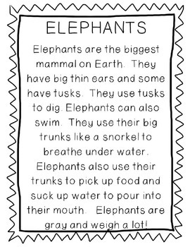 Non-Fiction Comprehension and Fluency Passages-Zoo Animals
