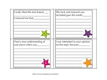Non-Fiction Peer Reflection Cards