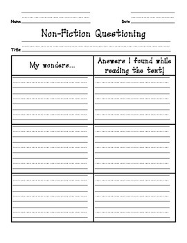 Non-Fiction Questioning Graphic Organizer