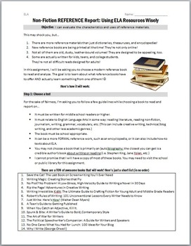 Non-Fiction Book Report: Reference & How-To Texts Activity