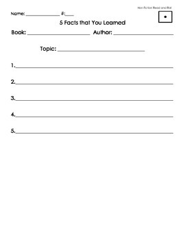 Non Fiction Read and Roll Worksheets (Low Ability Level)