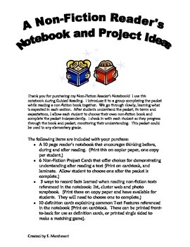 Non-Fiction Reader's Notebook and Project Ideas
