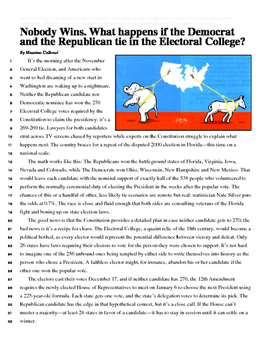 Non-Fiction Reading: An Electoral College Tie