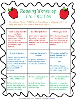Non Fiction Reading Choice Board: Tic Tac Toe
