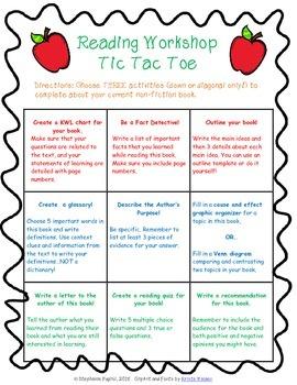 Non Fiction Reading Choice Board: Tic Tac Toe