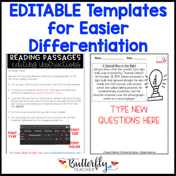 30 Non-Fiction Reading Passages with Comprehension Questions | Editable Passages