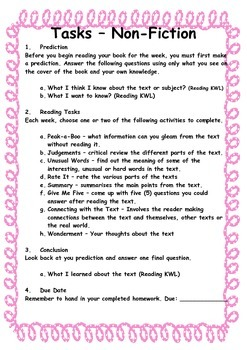 Non-Fiction Reading Comprehension Activities for any book