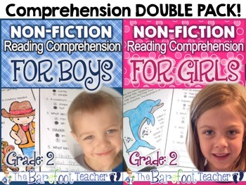 Non-Fiction Reading Comprehension Passages BOY/GIRL Double Pack - Grade 2