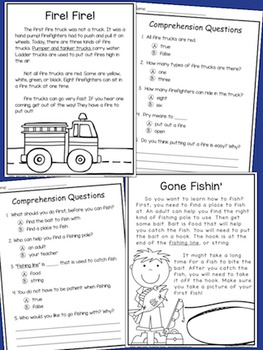 Non-Fiction Reading Comprehension Passages FOR BOYS - Grade 1