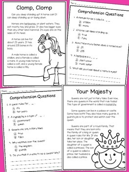 Non-Fiction Reading Comprehension Passages FOR GIRLS - Grade 2