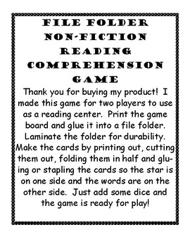 Non-Fiction Reading Comprehension File Folder Game