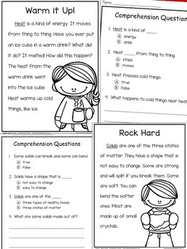Physical Science Non-Fiction Reading Comprehension Passages