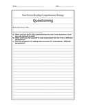 Non-Fiction Reading Comprehension (Questioning) Strategy Sheets