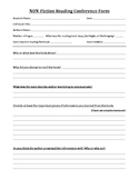 Non-Fiction Reading Conference Form - Student Fills In