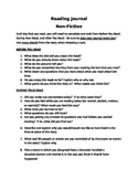 Non-Fiction Reading Journal Questions