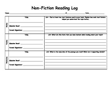Non-Fiction Reading Log