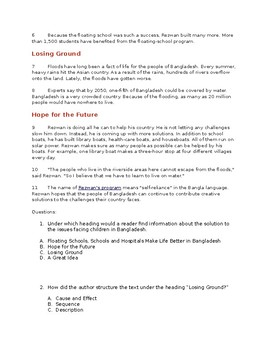 Non Fiction Reading Passage ELA FSA Style Questions & Writing Prompt